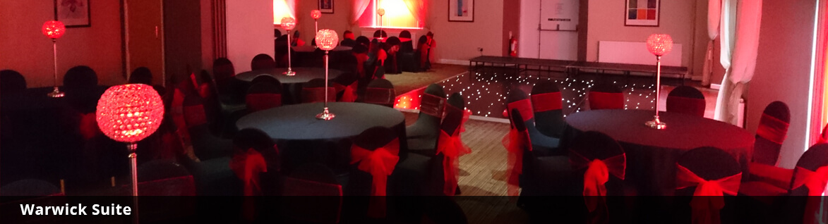The Warwick Suite Function Room Setup for a Wedding at Sports Connexion Coventry