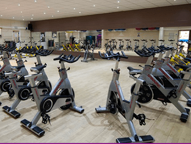 Inside our Gym Exercise Studio setup for Spin Class at Sports Connexion