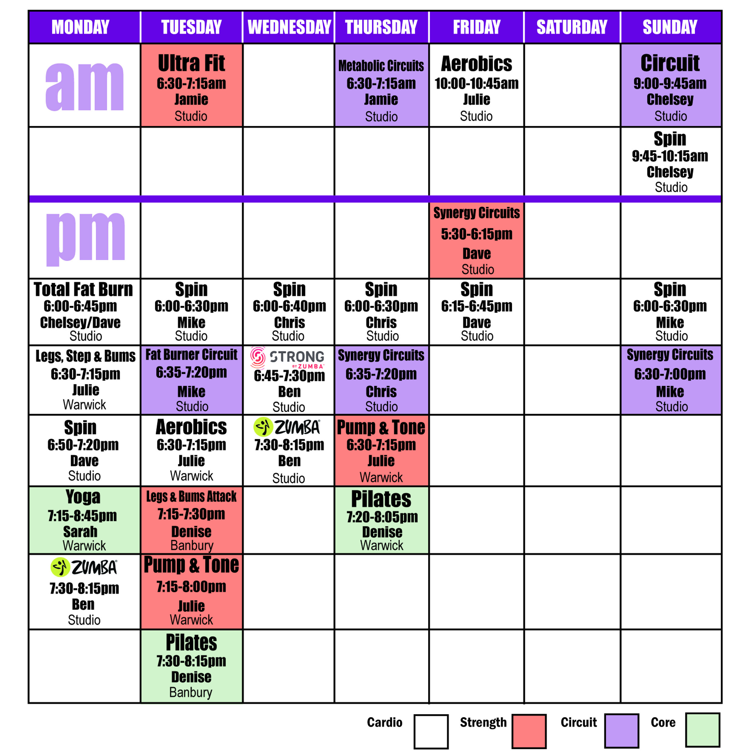 Fitness Classes Timetable at Sports Connexion Coventry & Warwickshire